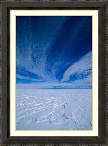 (Framed Wall Art Print | Home Wall Decor Art Prints | Cirrus Clouds Above ICY Plateau, Antarctica by Grant Dixon | Traditional Decor)