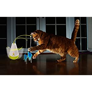 ALL FOR PAWS Electric Tumbler Cat Toy Feather Spinning Teaser Toys 97