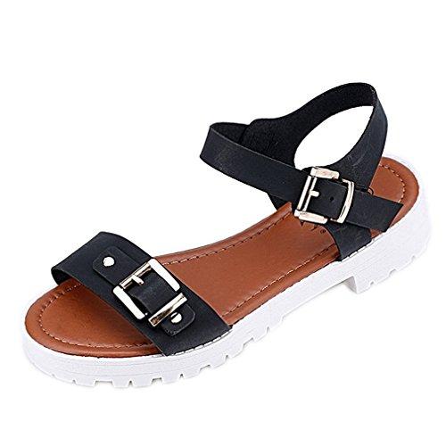 Secret paradise Womens Ladies Toe Verano Flat Flip Flop Sandalias Negro - negro