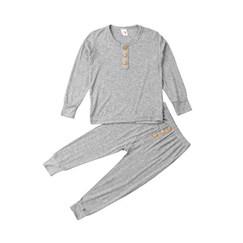 Binwwede Kids Two Piece Pajama Sets Boys Girls Button Long Sleeve Cotton Sleepwear(3T,Grey)]()
