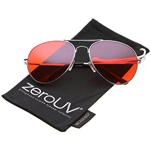Classic Metal Frame Colored Teardrop Lens Aviator Sunglasses 57mm