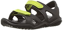 Crocs Crocband Swiftwater River Sandal K Clog, Blackvolt Green, 6 M Us Toddler