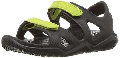 Crocs unisex-kids Swiftwater River Sandal Sandal, black/volt green, 7 M US Toddler
