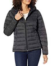 Amazon Essentials Women's Lightweight Long-Sleeve Full-Zip Water-Resistant Packable Hooded Puffer Jacket