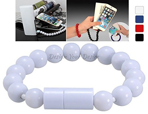 Price comparison product image DTECH Creative Buddha Bead Bracelet 8-pin USB Charging Data Cable IPHONE 6,IPHONE 6 PLUS,iPhone 5/5S (WHITE)