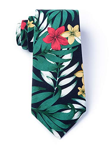 Men's Bedford Tropical Hibiscus Flowers & Palm Leaves Island Cotton Tie Necktie