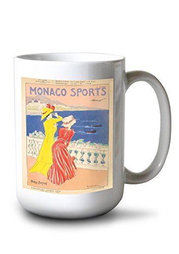 Monaco Sports Vintage Poster (Artist: Cappiello) France c. 1910 (15oz White Ceramic Mug)