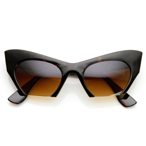 Women's Fashion Semi-Rimless Bottom Cut Cat Eye Sunglasses (Tortoise)