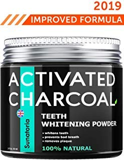 Activated Charcoal Teeth Whitening Powder - Product of UK by Sunatoria - Natural Coconut Teeth Whitener - Effective Remover Tooth Stains for a Natural Healthier Whiter Smile - Improved 2018 Formula (Best Teeth Whitener 2019)