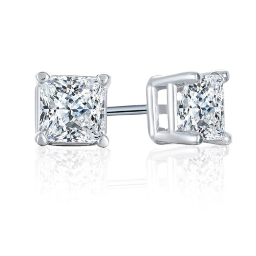 1/6 Carat Diamond 14K White Gold Stud earrings (I-J, I3)