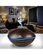 500ml Essential Oil Diffuser, infinitoo Aromatherapy Diffuser, Wood Grain Ultrasonic Diffuser Auto Shut-Off Cool Mist Humidifier with 4 Modes Adjust Time, 7 Colors LED Lights for Baby Room, Home, Yoga, SPA, Office