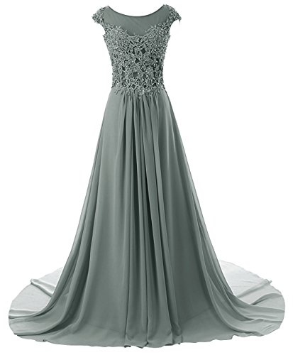 Gowns Prom Dresses Gray Bridesmaid Long Dress Prom Evening JAEDEN Lace Dress Chiffon Cap Sleeve HSIdqWx