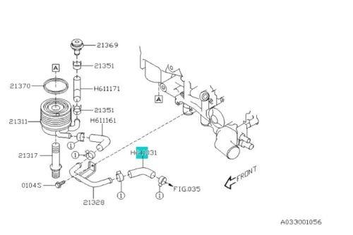 Genuine SUBARU WRX Sti Forester Outback XT Legacy GT Oil Cooler hose 807611031