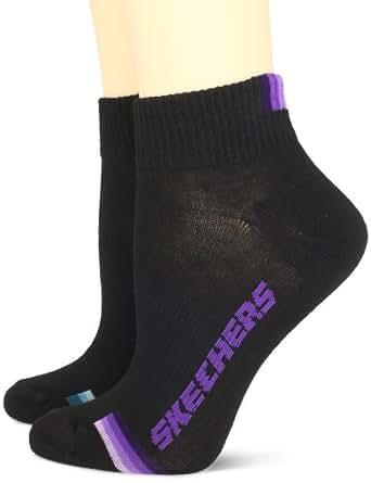Skechers Women's 6 Pack 1/2 Terry Quarter Crew Socks, Black, 9-11