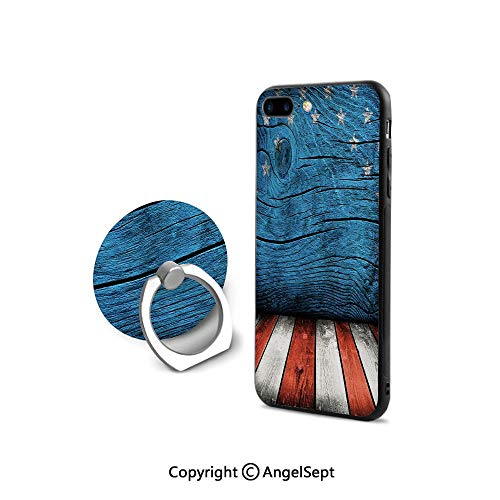 iPhone 8 Case/iPhone 7 Case with Ring Holder Kickstand,Rustic Empty Wooden Pattern Interior American Flag Design Print Decorative,Shock-Absorption Bumper,Violet Blue Orange