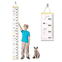 Accmor Baby Growth Chart, Wood Frame Fabric Canvas Kids Growth Chart Height Measurement Ruler with Removable Hook, Adorable Hanging Ruler
