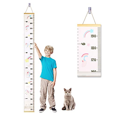 Accmor Child Growth Chart, Wood Frame Fabric Canvas Kids Growth Chart Height Measurement Ruler with Removable Hook, Adorable Hanging Ruler Wall Decor for Baby - 78.7'x7.87'' ()