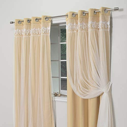 Aurora Home Falling Hearts Tulle Overlay Blackout Curtain Panels Sunlight 96 inches 96 Inche