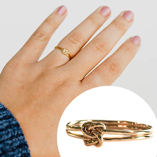 Love Knot Ring 14k Gold Filled - Delicate Double Knots - Thumb Ring for Women