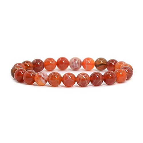 (Red Crab Fire Agate Gemstone 8mm Round Beads Stretch Bracelet 7