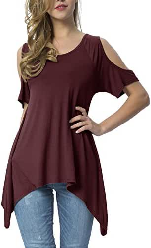 Mounblun Women's Vogue Shoulder Off Wide Hem Design Top Shirt