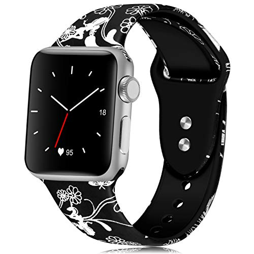 KOLEK Cute Bands Compatible for Apple Watch 38mm 40mm, Women Men Floral Replacement Strap Wristband for iWatch Series 4 Series 3 Series 2 Series 1 Sport, S/M