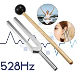 Fullwei Medical-Grade Tuning Fork with Striking Mallet,528HZ Frequency of Love Miracle Healing Set Tuning Health Care, Non-Magnetic Aluminum Alloy (Silver)