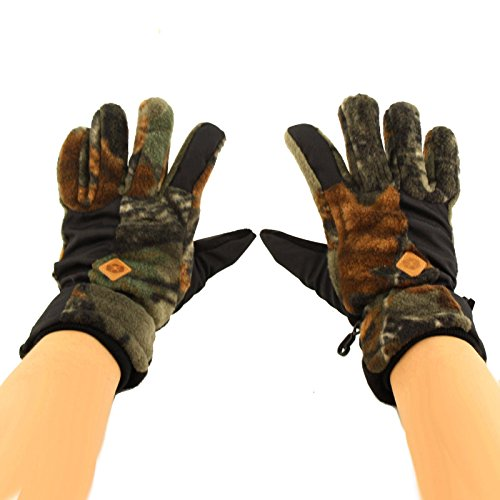 (Men's Winter Hunting Thinsulate 3M Thick Polar Fleece Warm Gloves Camouflage Large )