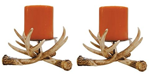Cheap Set of 2 Rustic Faux Deer Antler Pillar Candle Holders 6″