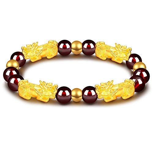 Feng Shui Amulet Bracelet The Best Porsperity 8mm Red Garnet Bead Bracelet with 4 Gold Plated Pi Xiu/Pi Yao Lucky Wealthy Brecelet