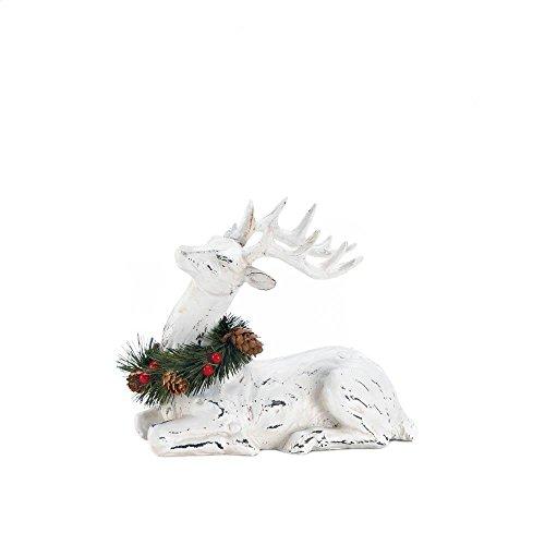 Desk Statue, Blitzen Deer Figurine Reindeer Figurines Table Statue, White