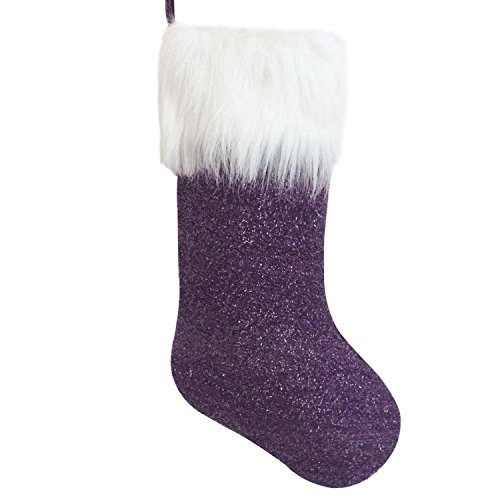 Purple Christmas Stocking (Gireshome purple sparkle Sequin Blingbling white faux fur cuff Christmas stocking Xmas Tree Decor Festival Party Ornament 10
