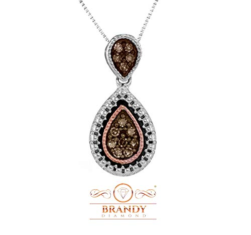 Brandy Diamond Chocolate Brown 14K Gold Silver Teardrop Beautiful Necklace Pendant 1/6 Ctw. (Pendant Chocolate Diamond)