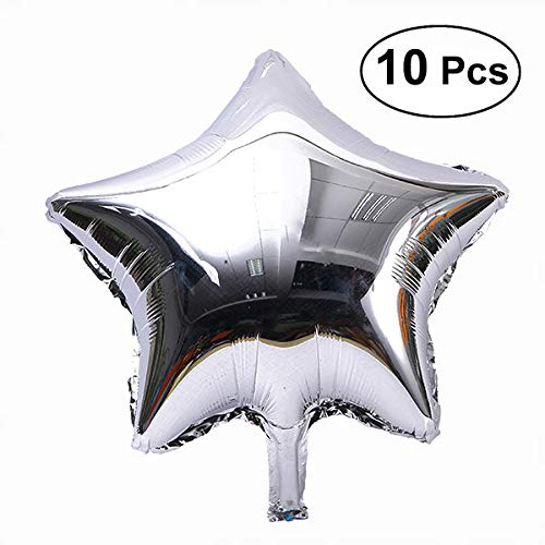 TOYMYTOY Five-Point Star Foil Balloons Party Decoration,Silver,18,Mylar, 10 Pack