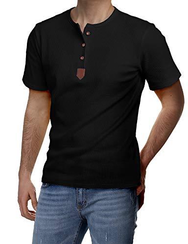 H2H Mens Casual Slim Fit Henley T-Shirt Half Sleeve Black US XL/Asia XXL (JDSK31)