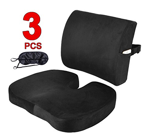 Seat Cushion Coccyx Orthopedic Memory Foam and Lumbar Support Pillow for Office Chair and Car Chair Cushion for Low Back Support, Tailbone Pain, Sciatica Relief Black Qutool by Qutool (Image #1)