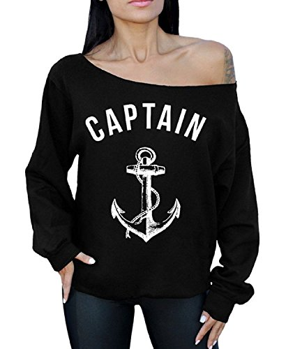 - Awkward Styles Awkwardstyles Captain Off The Shoulder Oversized Slouchy Sweater White Anchor 2XL Black