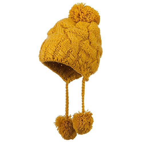 Women's Cable Knit Trapper Hat - Mustard OSFM