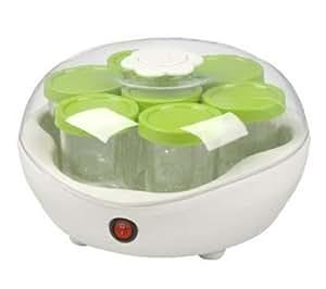 Team YM 2 G - Yogurtera (con 7 tarros de cristal de 200 ml con tapa color verde, minutero)
