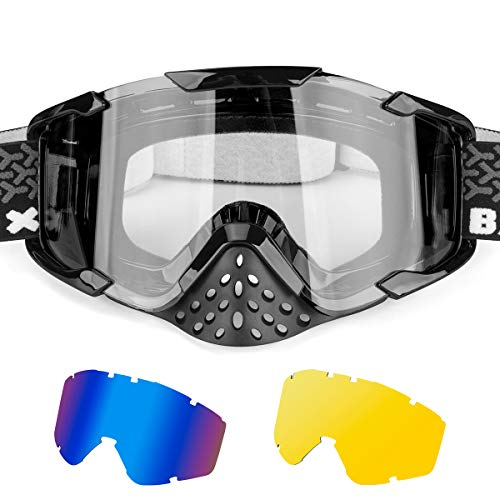 BATFOX Motorcycle Goggles with 2 Interchangeable Lenses Dirt Bike ATV Motocross Safety ATV Tactical Riding Motorbike Glasses Goggles for Men Women Youth Fit Over Glasses (Clear + Blue +Yellow)
