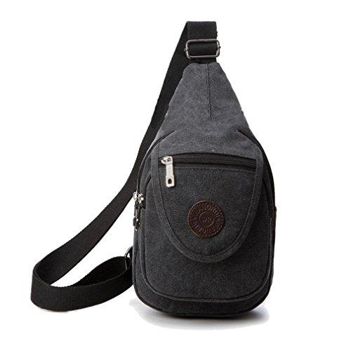 Para hombre Ocio Bolsa de hombro bolsa de deporte de pecho Canvas Messenger Bag Negro