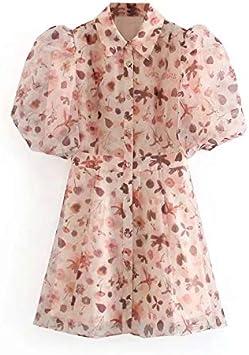 MZFRXZ Vestido de Camisa de Organza con Estampado Floral ...