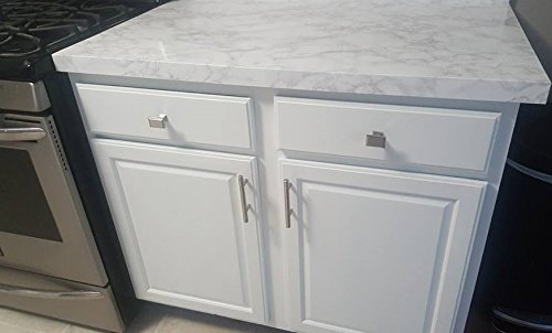 Countertop Paint? No Italian White Marble Countertop Look: 5 Layer Faux White Peel and Stick Marble. 20 Ft L x 3 Ft W. 60sq foot counter top film. by EzFaux Decor