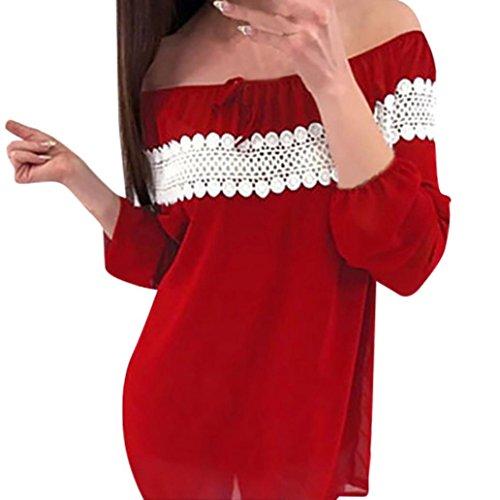 extrieur fte Top Diadia Red Femme de dcontract pour bureau dcontract mariage Porter Tee moiti bal Off nuit TOPS Club Loose T maison shirt manches Chemisier paule wgrwZAWq4z