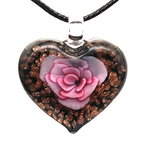 RanMory31 Glass Heart Pendant 6 Colors Glass Jewelry Flower Heart Murano Glass Pendant Lampwork Glass Pendant for Necklace
