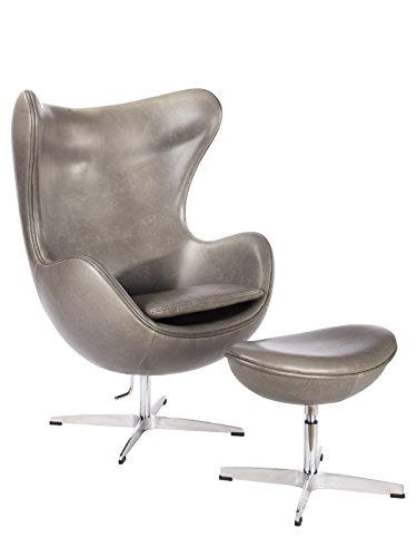 Milano Pewter Mid Century Modern Classic Arne Jacobsen Style Egg Replica Lounge Chair With Premium Vintage Grey PU Leather Fiberglass Inner Shell and Polished Aluminium Frame With Matching Ottoman Milano Comfort Foam