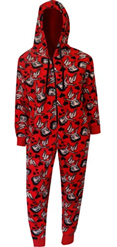 Betty Boop Red Plush One Piece Hoodie Pajama for women ()
