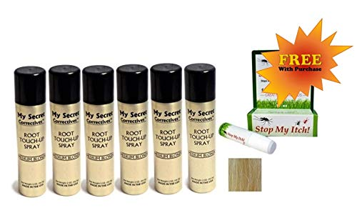 My Secret Correctives Root Touch-Up Natural Highlight Spray - 2oz each - 6 Cans - MEDIUM BLONDE - PLUS FREE Stop My Itch! BONUS! by My Secret Correctives