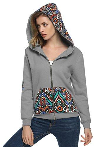 Zeagoo Women's Soft Fleece Full Zip Hoodie Patchwork Sweatshirt (Patchwork Printed)