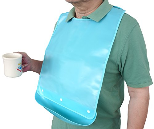 Waterproof Adult Senior Elderly Bib Apron Mealtime Clothing Protector with Detachable Crumb Catcher (Light Blue)